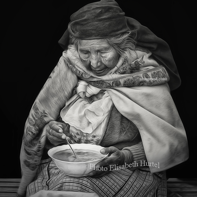 The plate of soup, street scene in the Andes