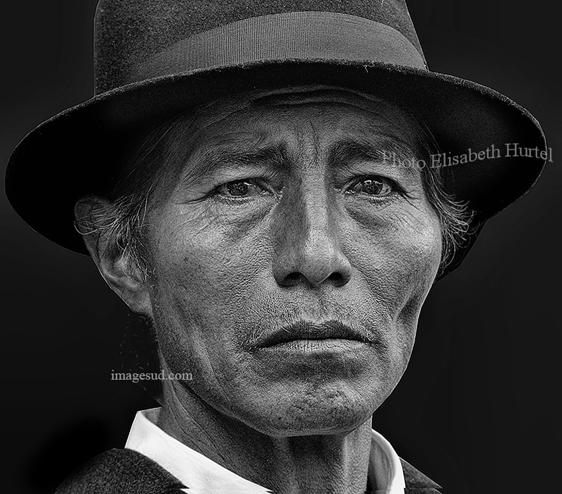 Portrait of an indigenous, Andes, black and white
