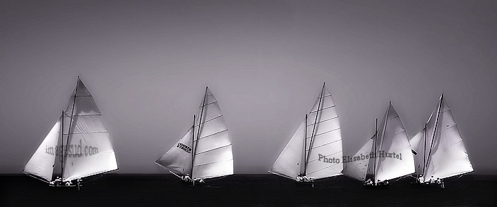 Sea and sails, bw seascape