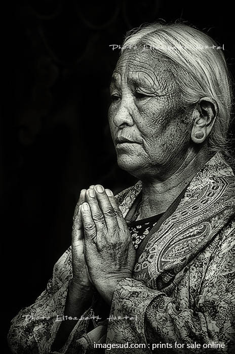 Buddhism, Puja, black and white photography
