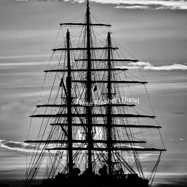 Tall ship and sunset, black and white sailing photography