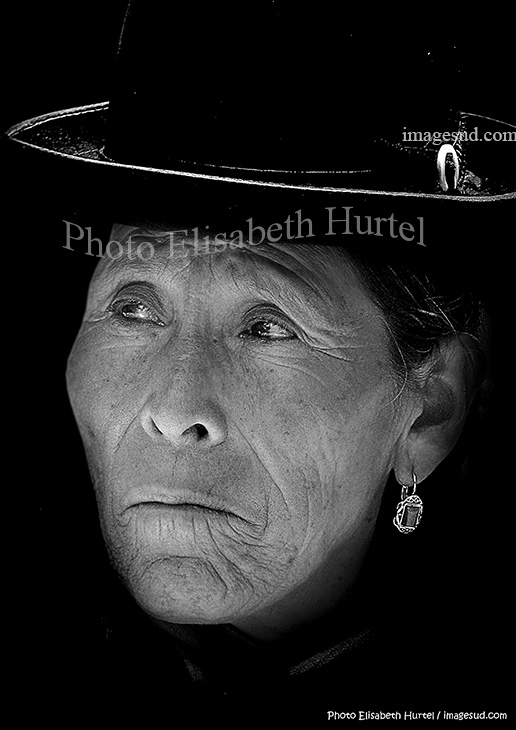 Aymara woman in Bolivia, portrait bw