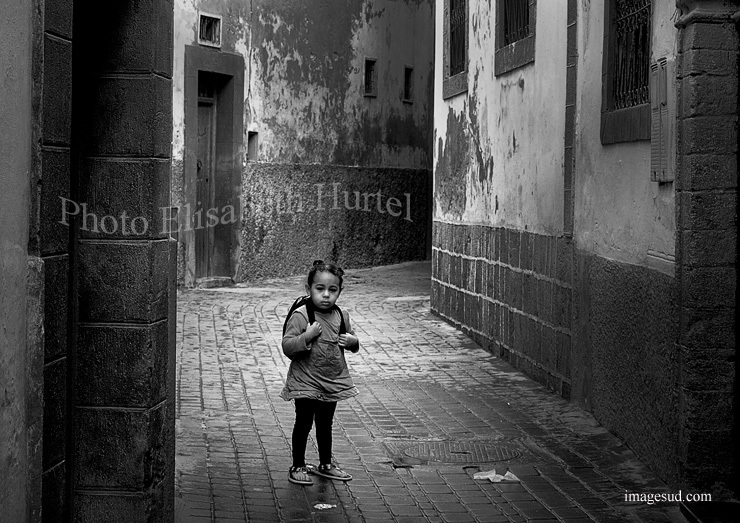 Childhood, Morocco street, bw photo