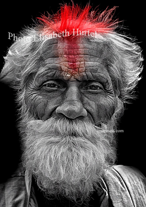 Sadhu of India, black and white and red