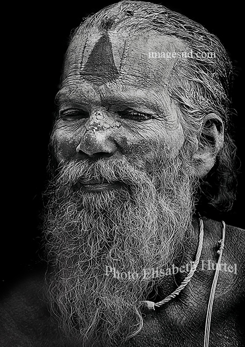 Bw portrait : Sadhu, India