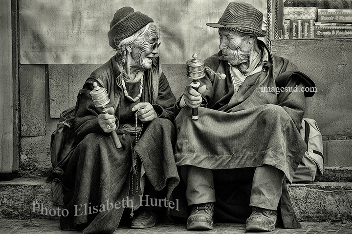 Small chat in Ladakh, India, street cene in Black and white