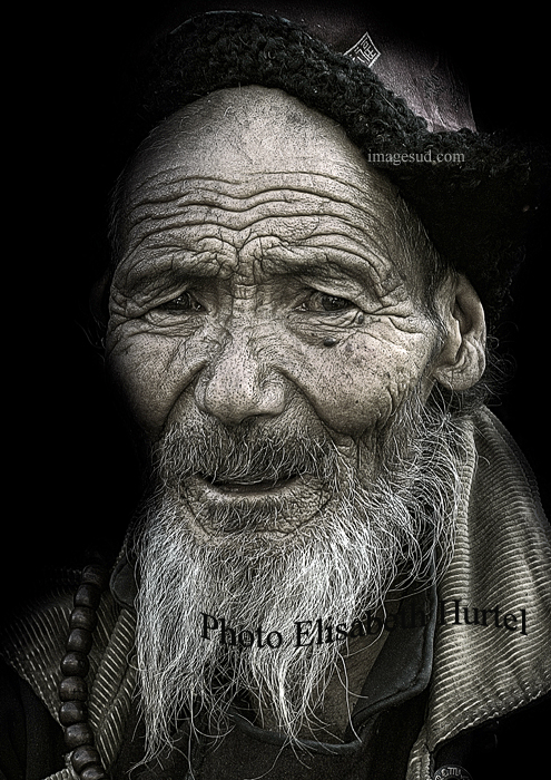 Old man, Ladakh, India, street portrait bw