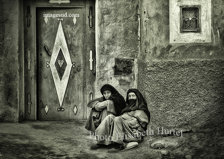 Street scene : Morocco village, photo bw