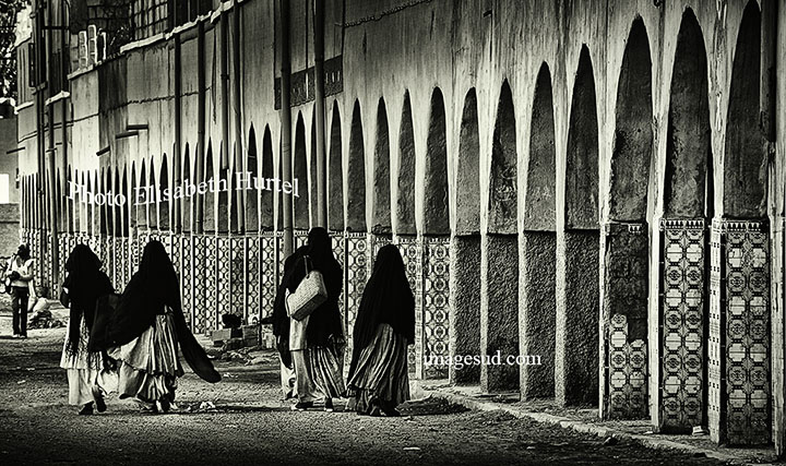 Morocco street, South Morocco, black and white photography