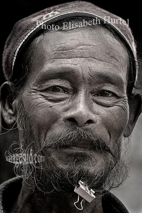Nepal humour, portrait bw