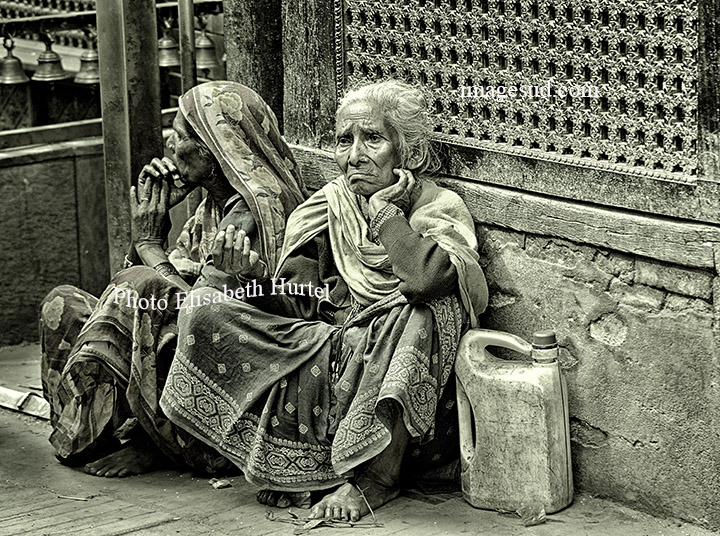 Bw street scene in Nepal, bw photography
