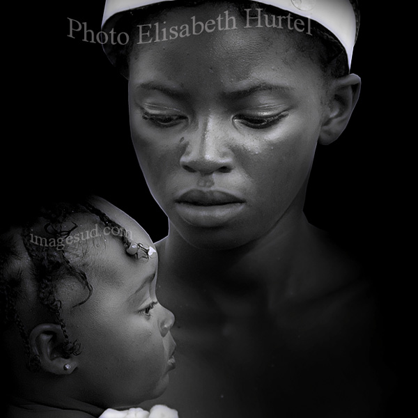 Mother and child, art portrait black and white