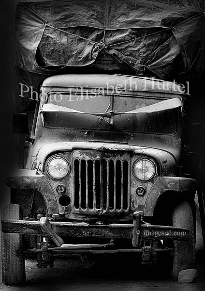 Old car, bw street photography