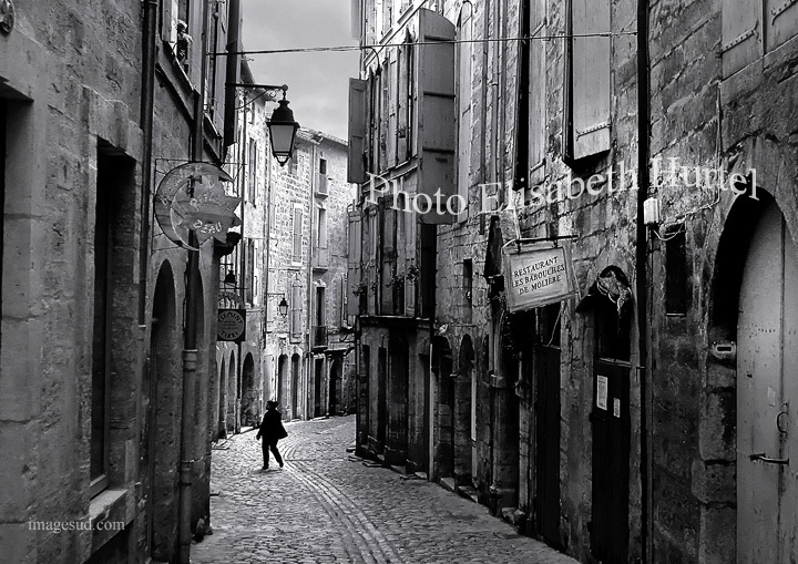 Southern France village street, street scene black and white