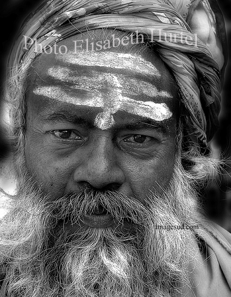 Holy man in India, bw portrait