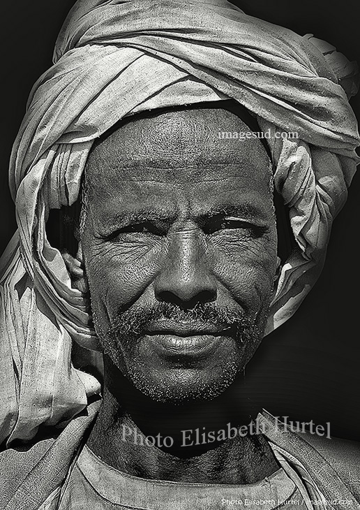 Desert nomad, Sudan, portrait bw