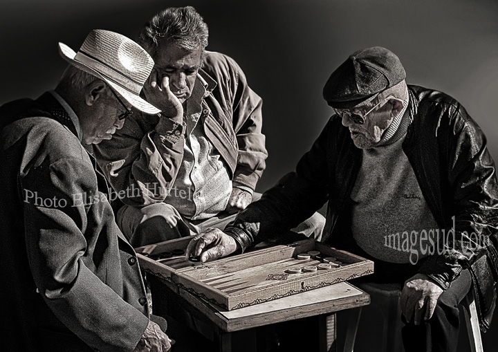 Backgammon game, Greece, street scene black and white