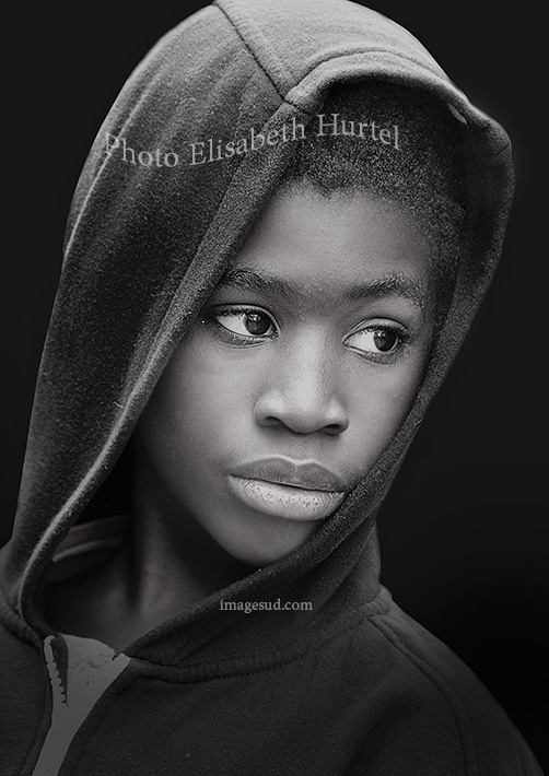 Young boy, Africa, portrait black and white