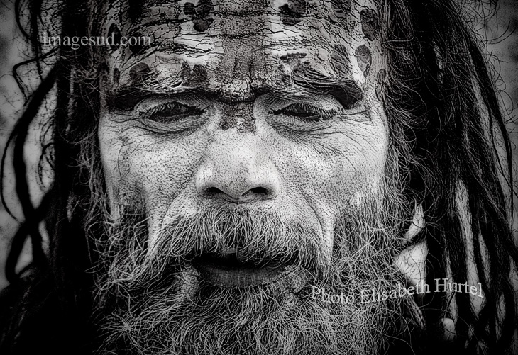 Sadhu, India, portrait black and white