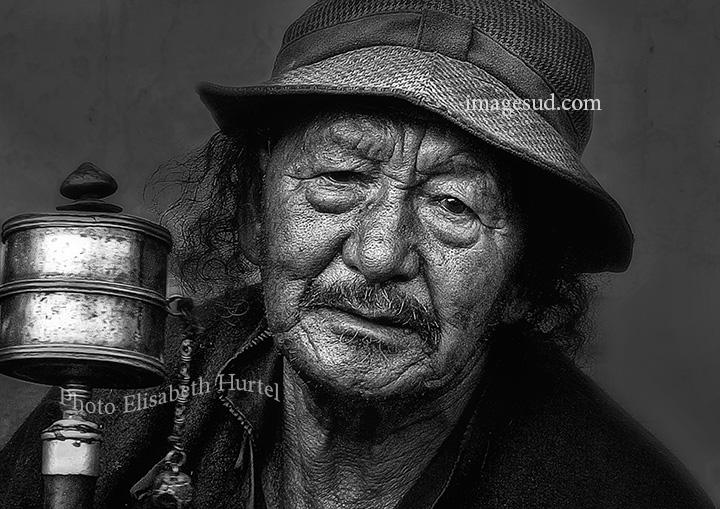 Ladakh portrait, bw