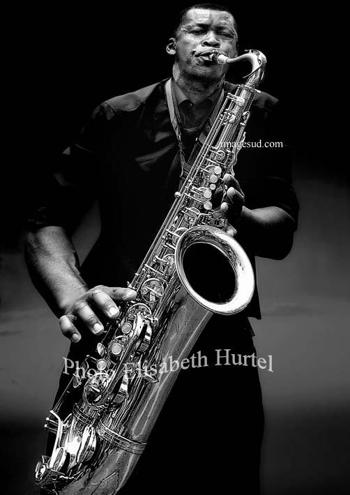 Jazz, portrait of a saxophonist, black and white