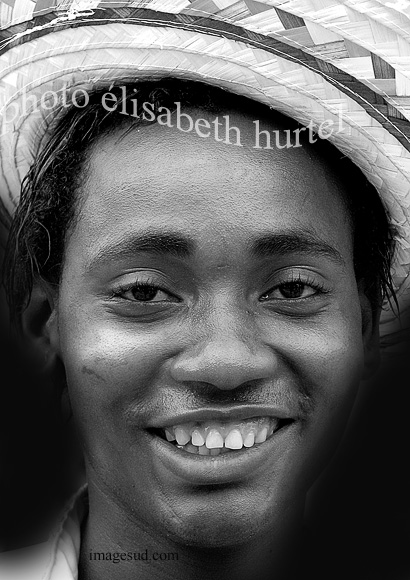 Smiling boy, West-Indies, portrait bw