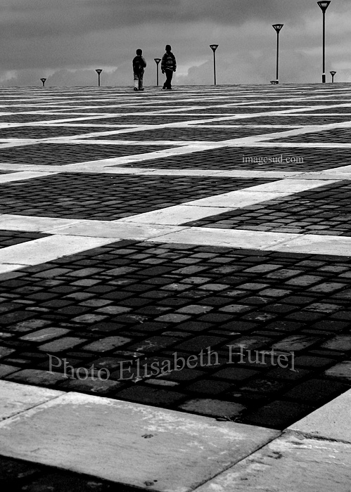 Chess board, treet photography bw