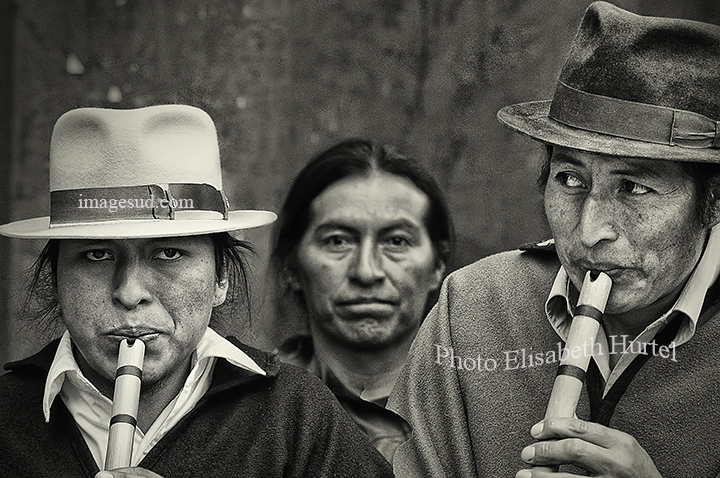 Live music for a traditional wedding, Andes, street scene bw