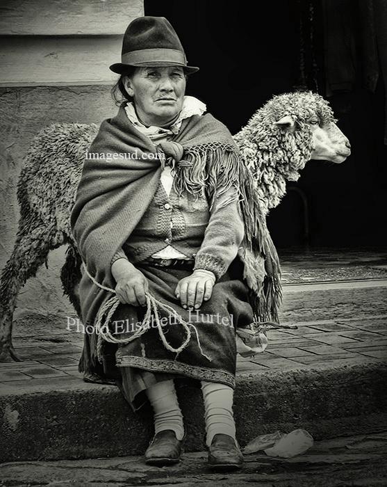 Indigenous market scene, Ecuador, South America, bw street scene