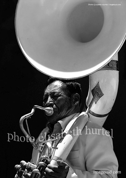 Music in Bolivia, tuba, bw photography