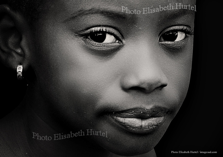 Big eyes, young girl, Africa, portrait bw