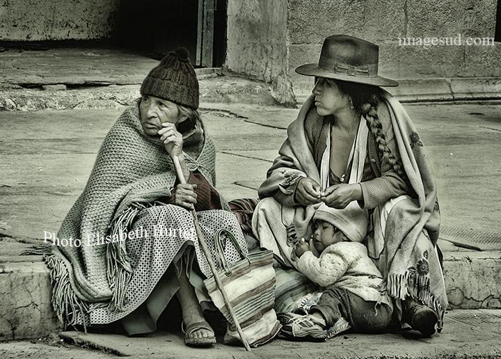 Street scene in Potosi, Bolivia, bw
