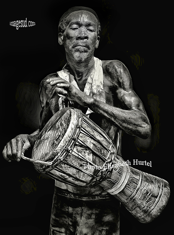Djembe player, Africa, bw photography