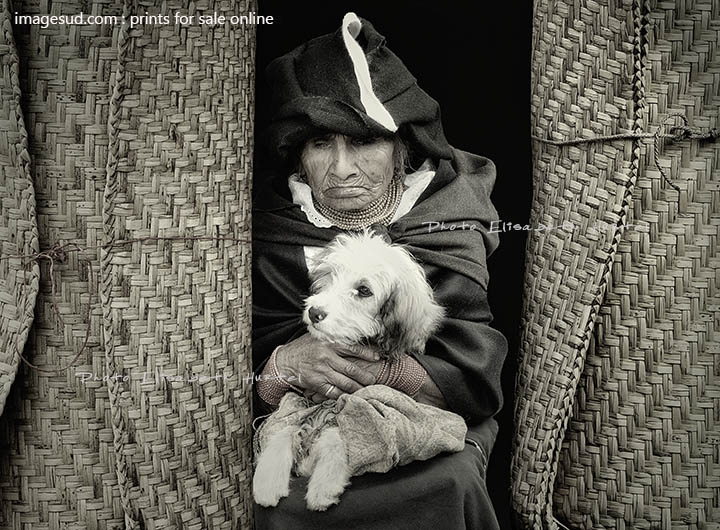 Amerindian pet lover, street scene black and white