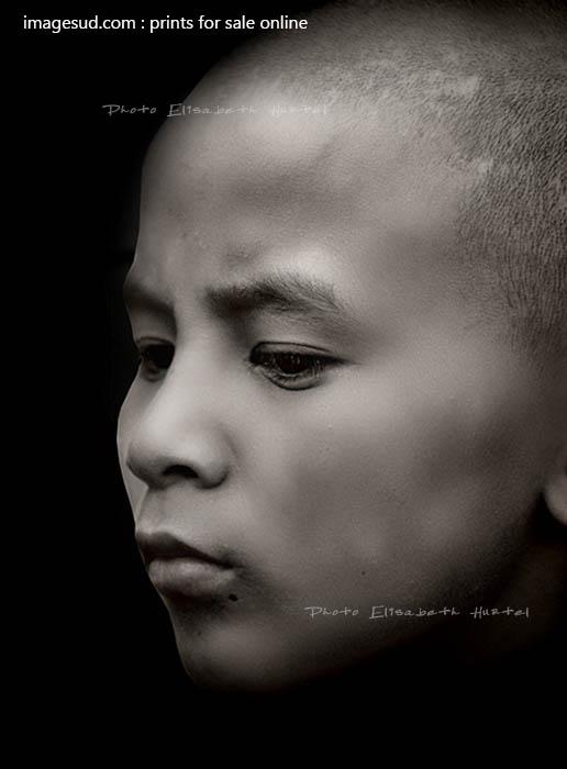 Portrait minimalist, young buddhist monk, Nepal