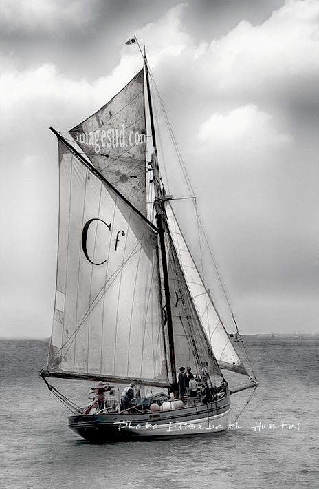 Sailing boat, cutter, black and white