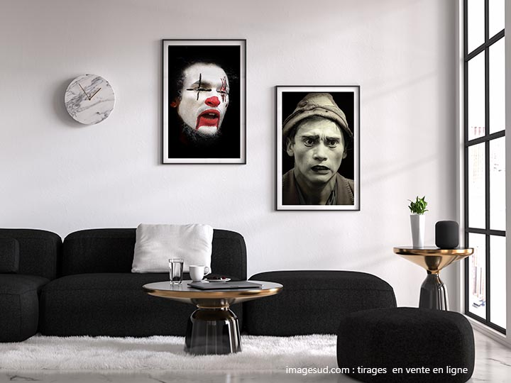Wall art, salon with clowns posters