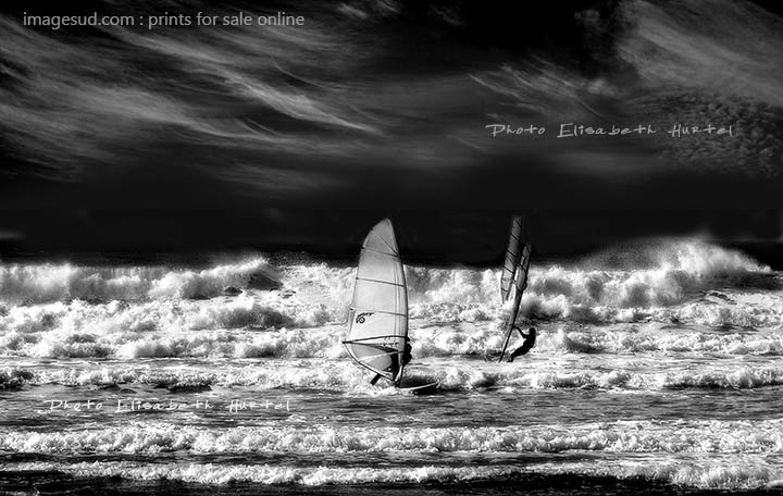 Windsurfing in the waves, sea photography black and white