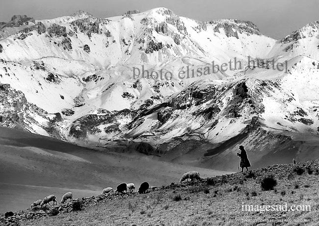 Photographie : paysage des Andes, noir et blanc