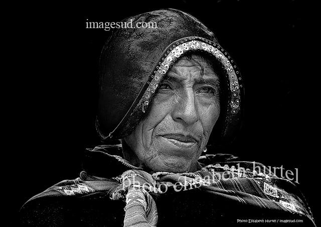 Boliviano, retrato en blanco y negro
