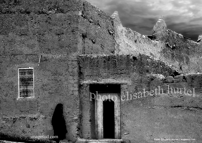 Ambiante de Morocco del Sur, foto de calle en blanco y negro