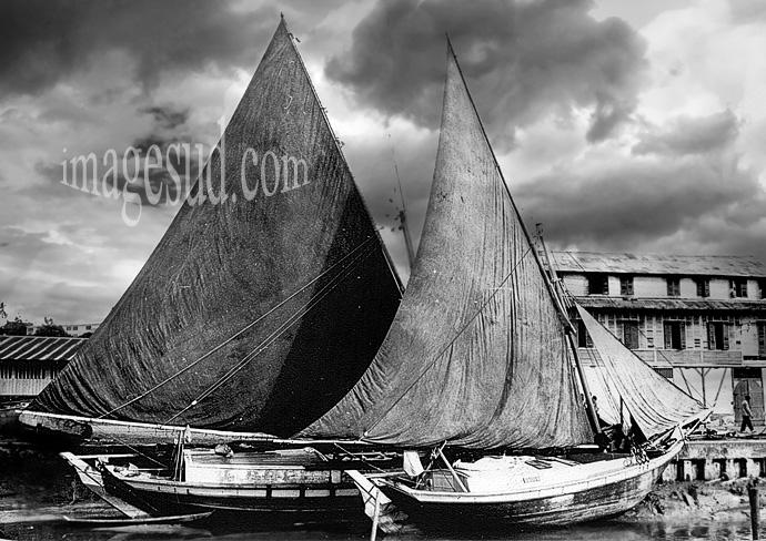 Barcos tradicionales de Brasil, fotografia vintage en blanco y negro
