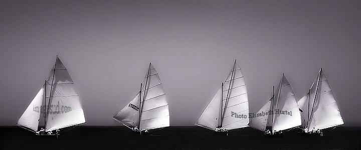 Viento en las velas, fotografia de paisaje marino en blanco y negro