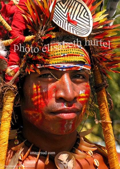 Portrait de danseur papou, tirage d'art
