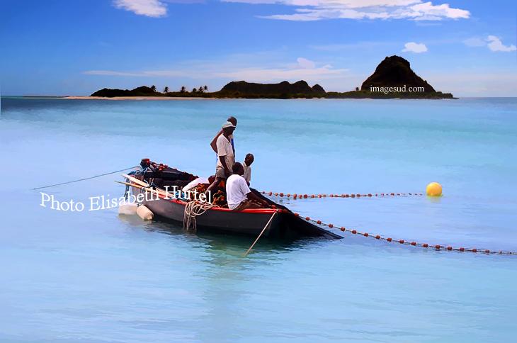 Photographie pour décoration murale : scène de pêche aux Antilles