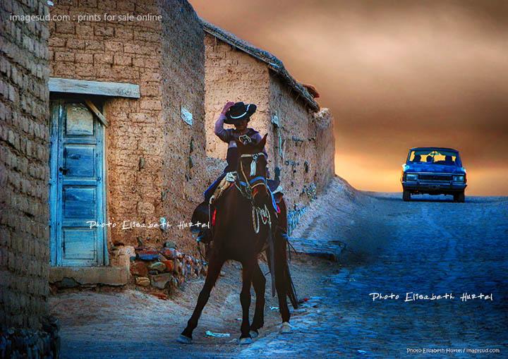 Jeune gaucho, scène de village en Argentine