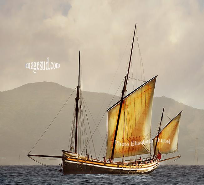 Vieux bateau en bois : lougre . Lugger, traditional wooden boat