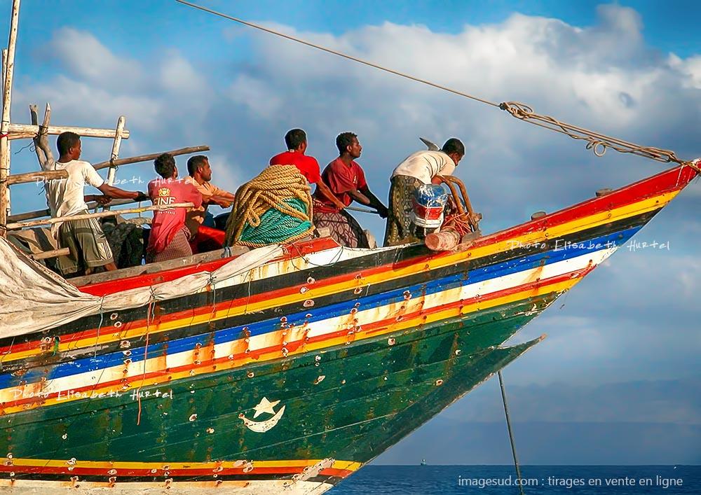 Photo d'un boutre de la Mer Rouge, scène de mer, appareillage, tirage XXL pour déco murale
