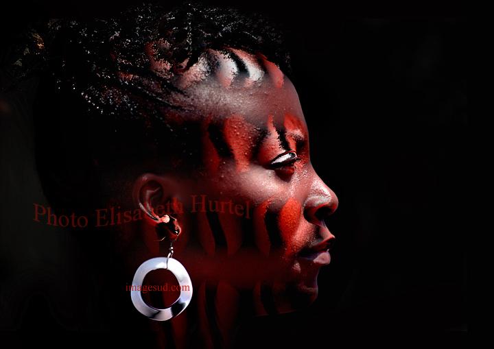 maquillage, portrait d'une Africaine