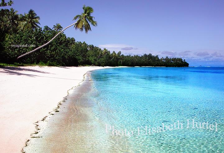 Plage tropicale sauvage d'Oceanie, île Wallis, Pacifique Sud : tableau photo, poster, panneau mural
